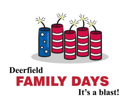 "Deerfield Family Days Logo with fire crackers and text ""Deerfield Family Days - It's a blast!&"