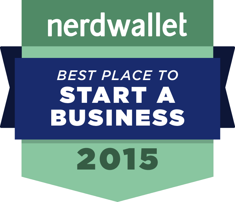 "Nerdwallet Business logo shaped like an award ribbon, says ""best place to start a business 2015&#"